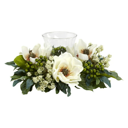 Nearly Natural Magnolia Candelabrum Silk Flower Arrangement The Magnolia Candelabrum Artificial Silk Flower Arrangement offers an elegantly styled, durable and convenient decoration option for special events or around the house. This large silk flower arrangement features ivory magnolia blooms with leaves, stems and berries spaced between, and a glass candle holder in the center. This silk flower arrangement for the home is made of polyester, plastic, iron and glass.