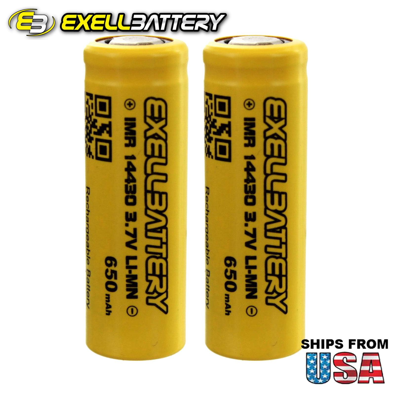 2x IMR 14430 3.7V 650mAh Li-Ion Rechargeable Mod Vape  Batteries