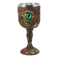 Ebros Wizard's Alchemy Eye Of The Dragon Wine Goblet Chalice 7oz Capacity Figurine Resin With Stainless Steel Liner