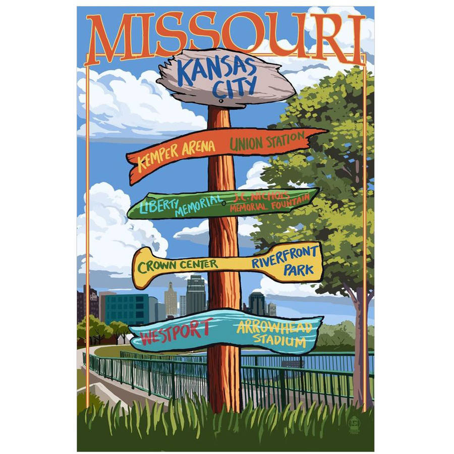 Kansas City, Missouri - Signpost Destinations: Retro Travel Poster by Eazl Cling