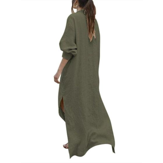a8b527545c0 HIMONE - Plus Kaftan Dresses Women Casual Long Sleeve Maxi Tunic ...