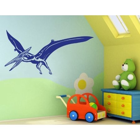 Pterosaur Wall Decal - dinosaur wall decal, sticker, mural vinyl art home decor - 3765 - Lilac, 47in x 24in - Dinosaur Home Decor