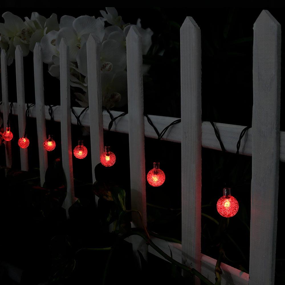 Sunnydaze 20-Foot Outdoor Hanging Solar Globe String Lights LED 30-Count, Green