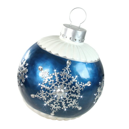 "37"" LED Lighted Blue Ball Christmas Ornament with Snowflake Outdoor Decoration - Blue Snowflakes Decorations"