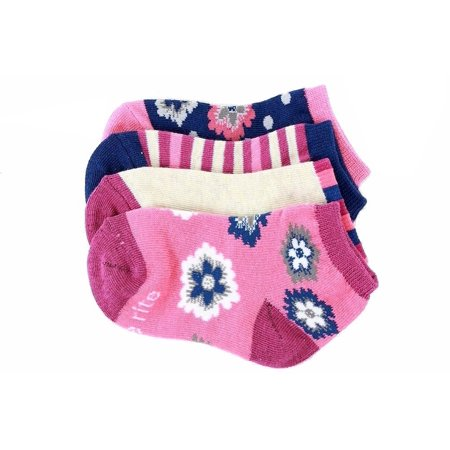 Stride Rite Girl's 4-Pairs Soft Knit Fuchsia Floral Socks Sz: 5-6.5 Fits 3-7 ()