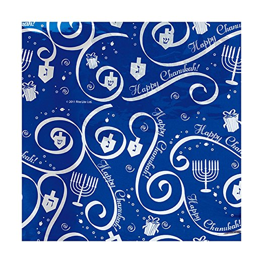 30-Square Feet Chanukah Gift Wrap Paper (Dark Blue)