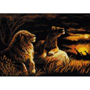 """Lions In The Savannah Counted Cross Stitch Kit, 15.75"""" x 11.75"""", 14-Count"""