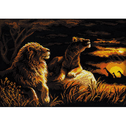"Lions In The Savannah Counted Cross Stitch Kit, 15.75"" x 11.75"", 14-Count"