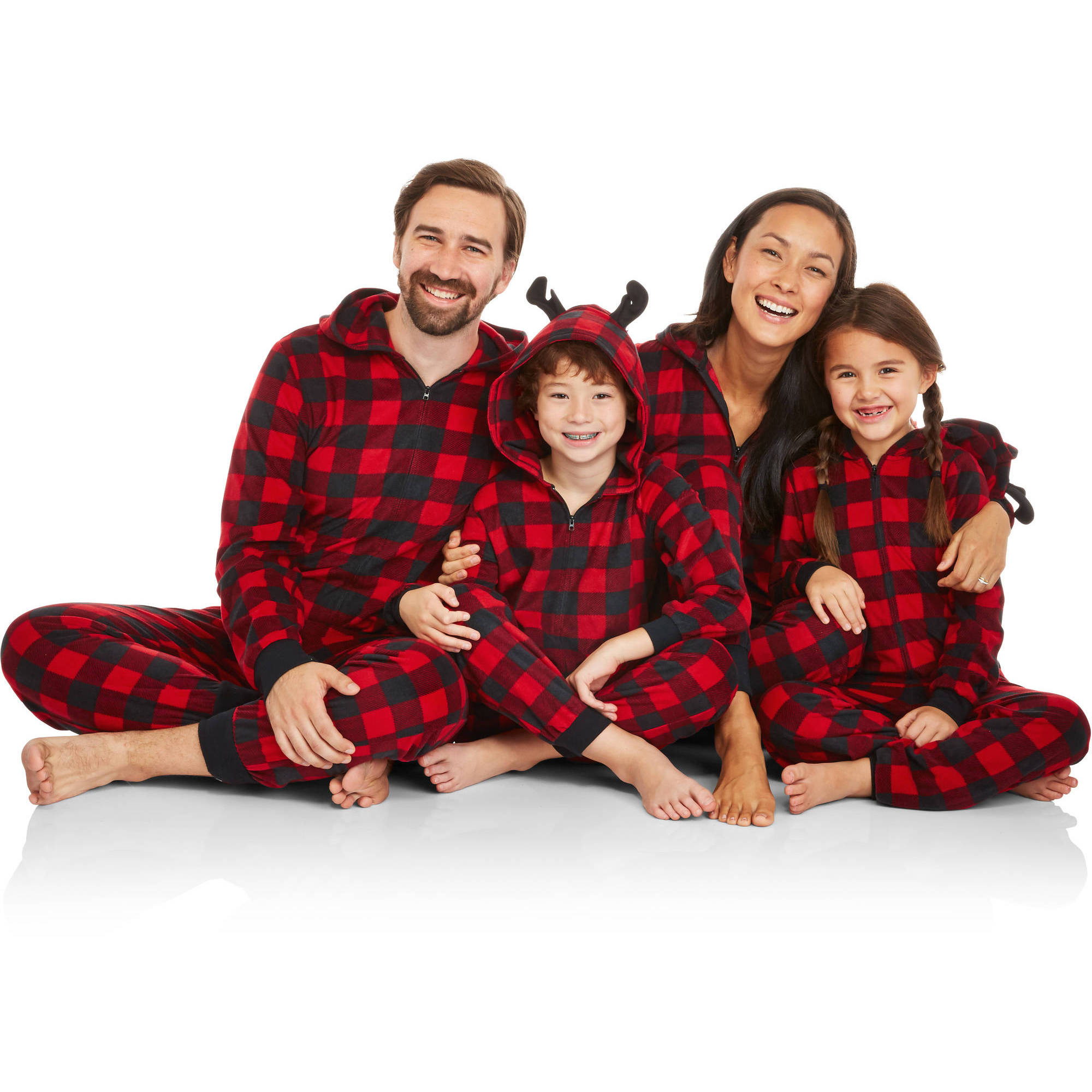 Holiday Family Pajamas Buffalo Plaid Onesies Sleepwear Union Suits with Antlers
