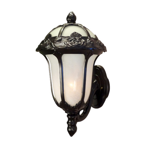 Special Lite Products Rose Garden F-2717-BLK-AB Medium Outdoor Bottom Mount Light with Alabaster Glass