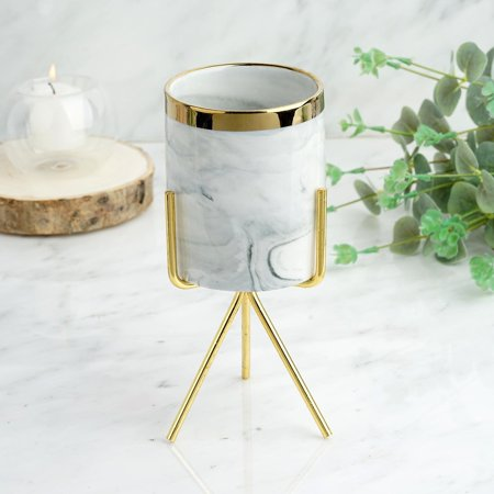 """Efavormart 8"""" Marble Swirl Ceramic Flower Pot Succulent Planter with Metal Gold Stand"""