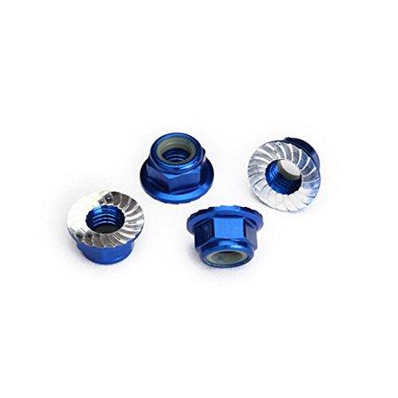 Traxxas 8447X Serrated Aluminum 5mm Flanged Nylon Locking Nuts, Blue