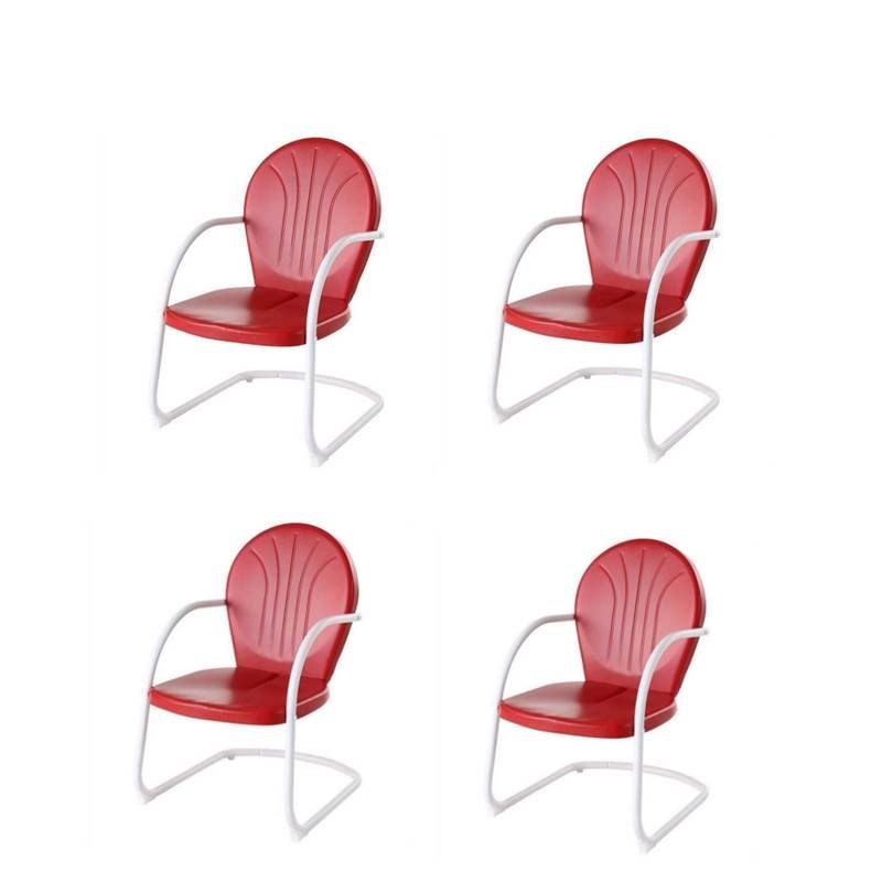 (Set of 4) Metal Arm Chair in Red