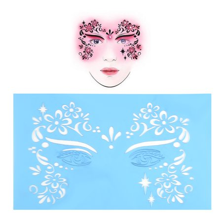 WALFRONT 7pcs/set Reusable Face Paint Stencil Body Painting Template Facial Makeup Tattoo Design Tools, Flower Butterfly Stencil, Facial Design Tools