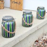 Sunnydaze Blue and Green Striped Solar Lantern Glass Jar Light with White LED String Lights, Set of 3
