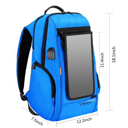 Outdoor Charging Backpack with USB Port Waterproof Breathable Travel Bag Wear-resisting Anti-theft Backpack with Solar