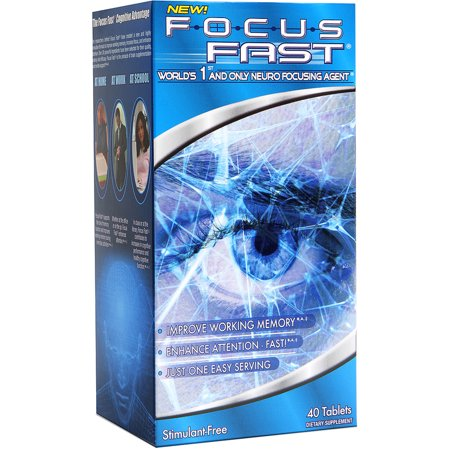 Focus Fast Neuro Focusing Agent Dietary Supplement - Memory Pill, 40 count