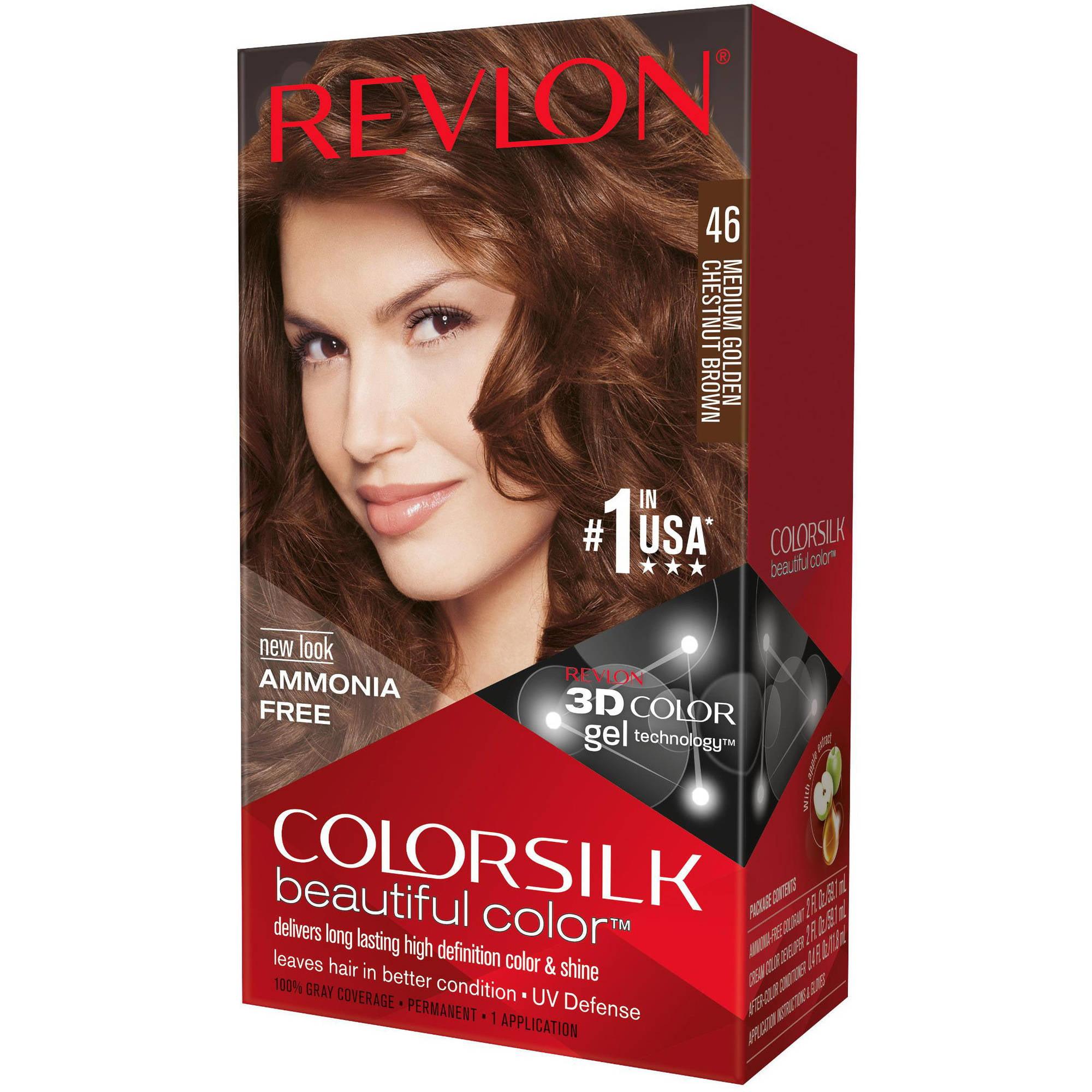 Revlon Colorsilk Permanent Hair Color, Medium Golden Chestnut Brown 46