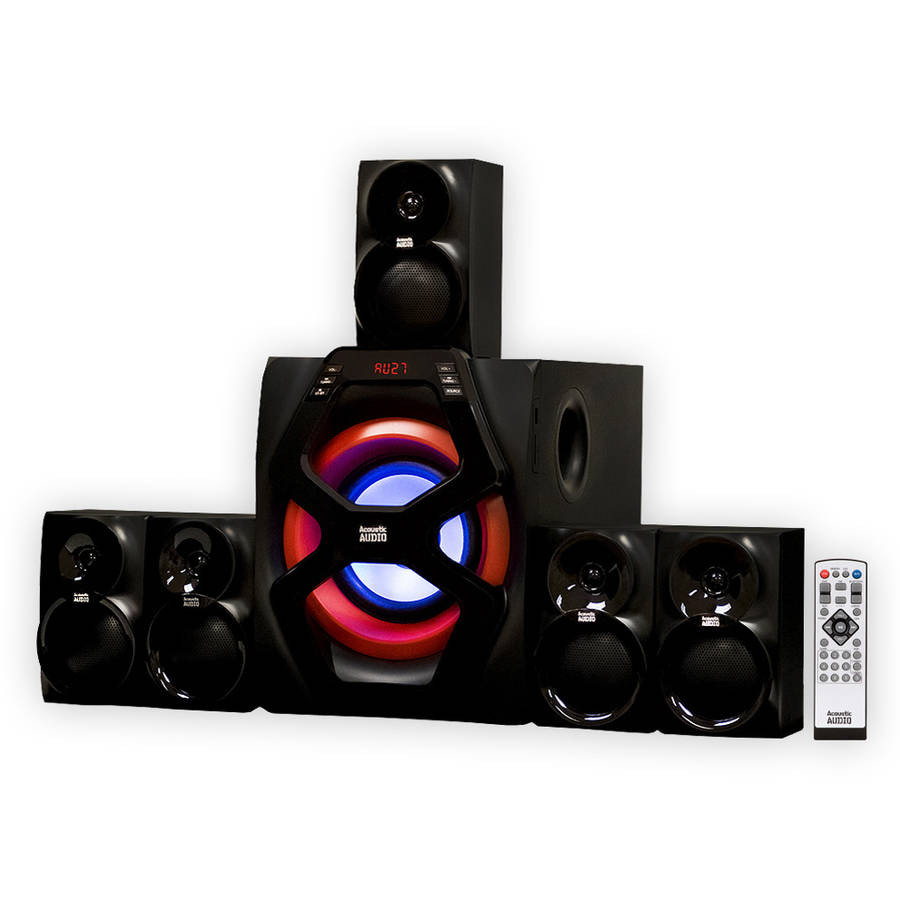 Acoustic Audio AA6101 Home Theater 5.1 Powered Bluetooth Speaker System with FM Tuner