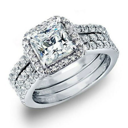 Devuggo 3 Piece Ring Band Set 3.28Ct Princess Cut Sterling Silver CZ Wedding Engagement for Women Her