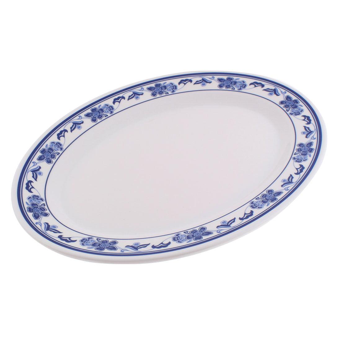Restaurant Plastic Oval Shaped Flower Print Vegetable Food Dessert Dish Plate by