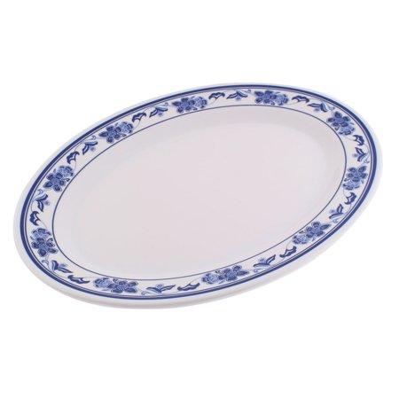 Restaurant Plastic Oval Shaped Flower Print Vegetable Food Dessert Dish Plate ()