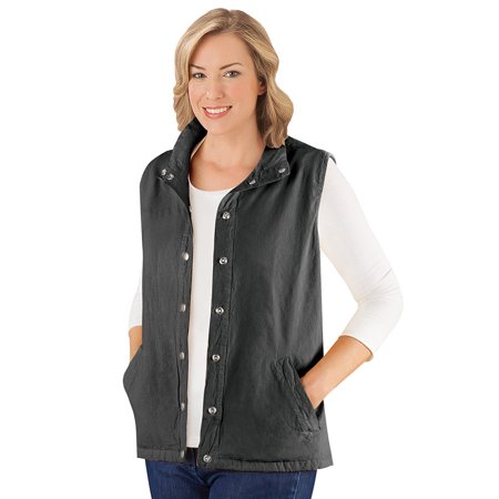 Front Snap Pockets (Women's Snap Front and Cinch Back Sleeveless Vest with Front Slant Pockets - Flattering Layering Piece for Outfit, Large, Black)