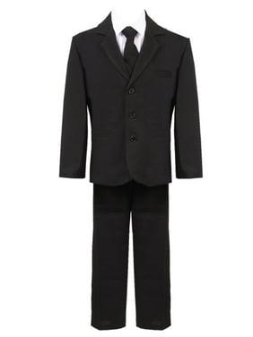Boys Black 5 Pcs Vest Shirt Tie Pants Jacket Classic Formal Suit