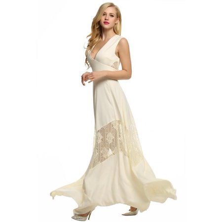 Ladies Women V Neck Lace Long Sleeve Dress Sppyy
