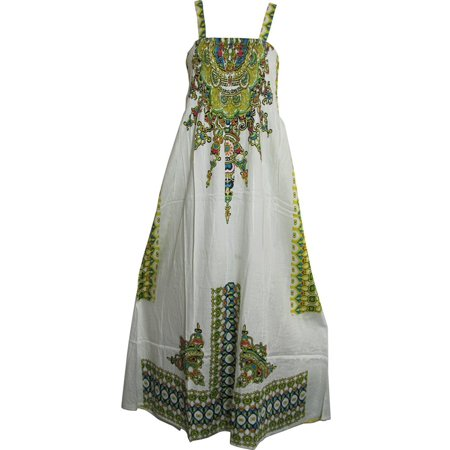 (Missy Tribal Ethnic Print Smocked Waist Sleeveless A-Line Long Maxi Dress Maya - #8 White)