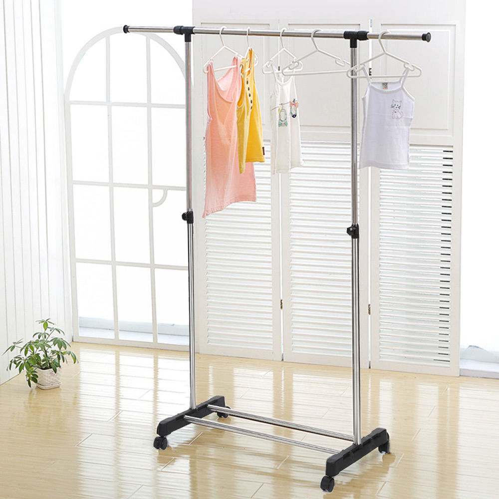 Zimtown Adjustable Single Bar Garment Rack Hanger Clothes Rod Car Stainless Steel