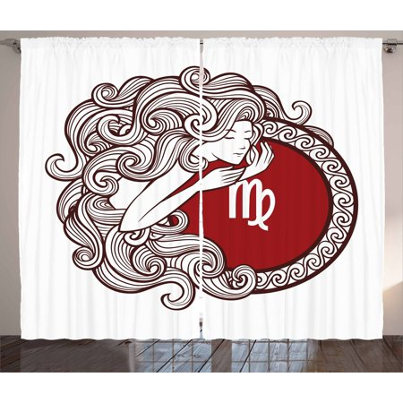 - Virgo Curtains 2 Panels Set, Vibrant Color Abstract Image Zodiac Sign Long Haired Girl with Symbol of Virgo, Window Drapes for Living Room Bedroom, 108W X 84L Inches, Ruby Brown White, by Ambesonne