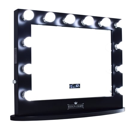 ReignCharm Hollywood Vanity Mirror with Bluetooth Speakers, 12 LED Lights, Dual Outlets & USB, 32-inches x 27-inches, Matte