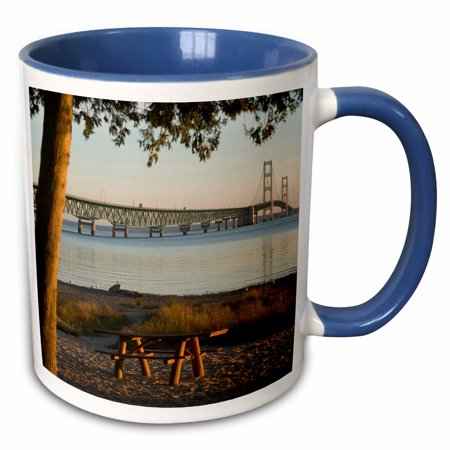 3dRose USA, Michigan, Mackinaw City, Mackinac Bridge - US23 PHA0004 - Peter Hawkins - Two Tone Blue Mug, 11-ounce