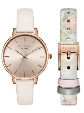 Ted Baker 40mm Rose Gold Dial White Leather Women's Watch Set TE50647010