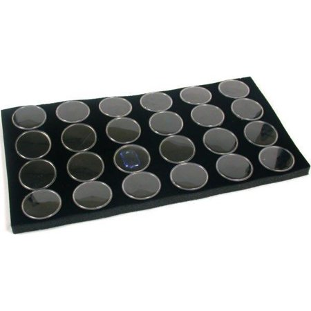 24 Black Foam Gem Jars Gemstone Storage Display Tray Insert