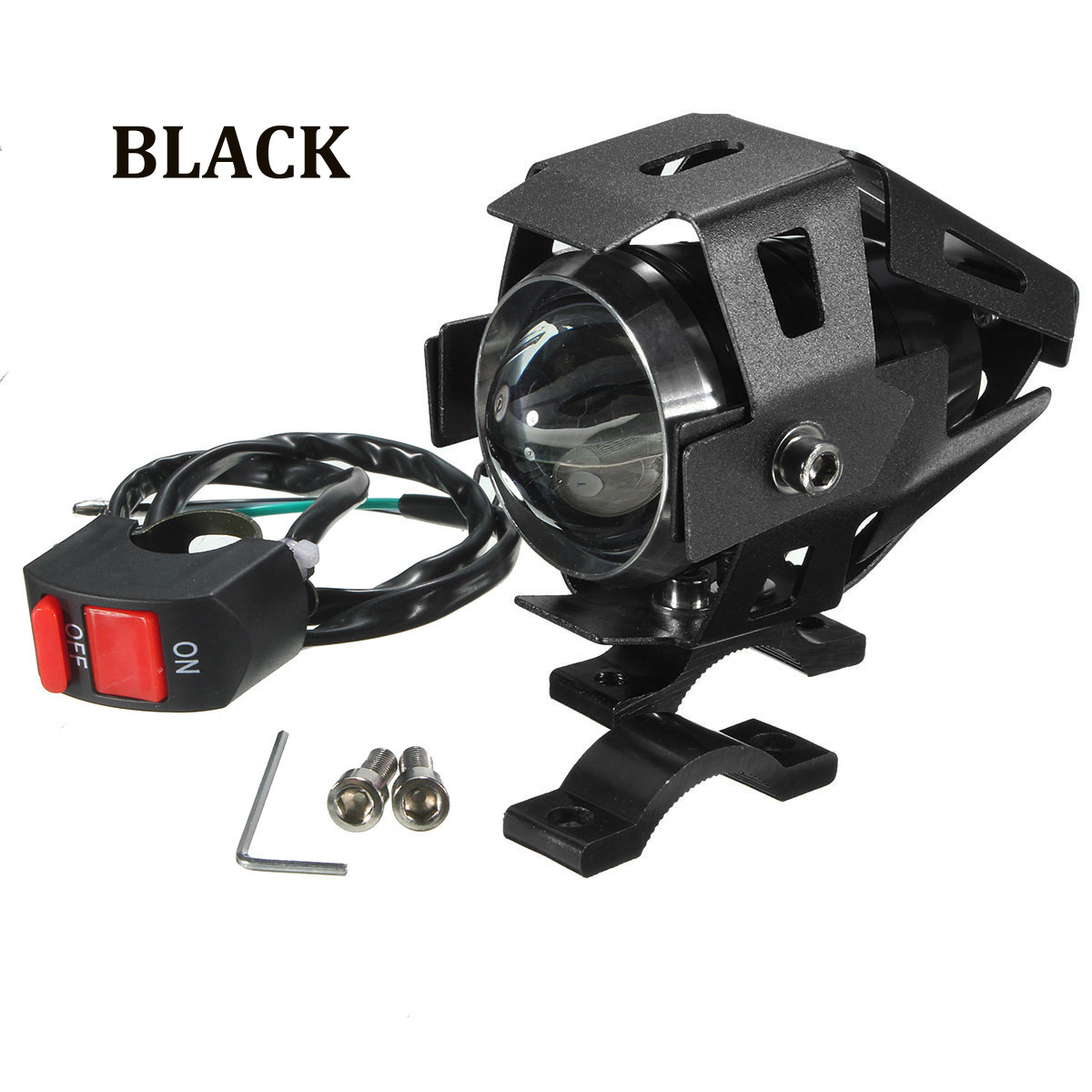 U5 Motorcycle Bike 125W LED Headlight Driving Fog Spot Light Lamp Kill Switch US