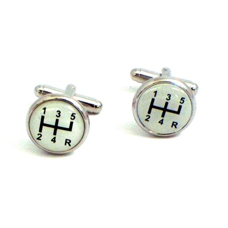 Bey-Berk Rhodium-Plated Cufflinks with Shifter Design