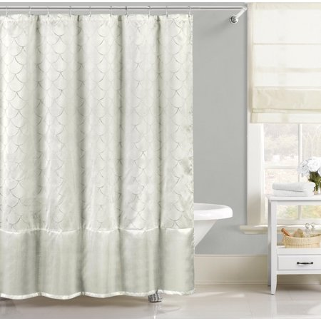 Pearl White Faux Silk Fabric Shower Curtain Metallic Silver Raised Pin Dot Fishscale Design