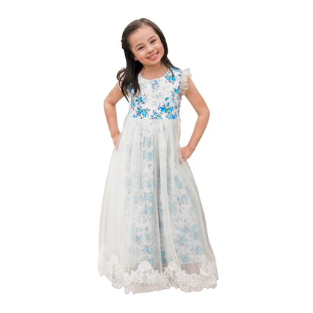 Just Couture Little S Blue White Fl Print Tulle Flower Dress