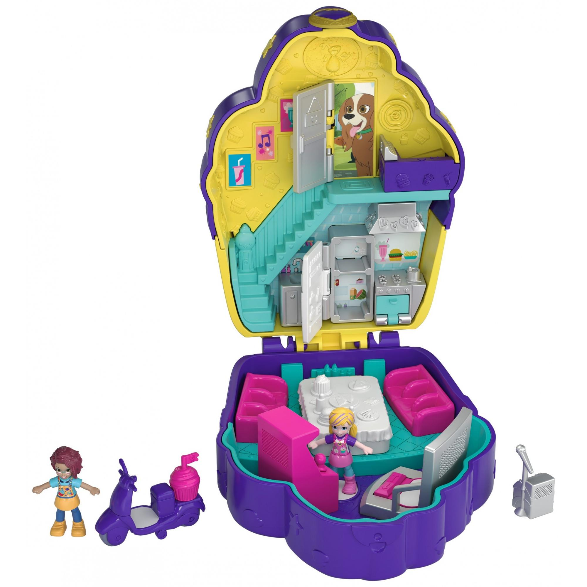 Polly Pocket Pocket Sweet Treat Cupcake Café-Themed Compact with Dolls