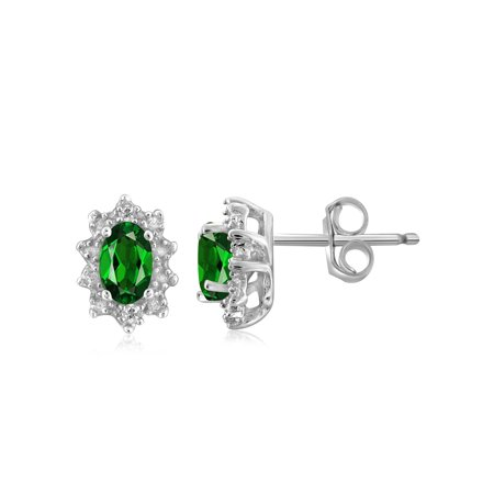 0.46 Carat Chrome Diopside Gemstone and Accent White Diamond Earrings