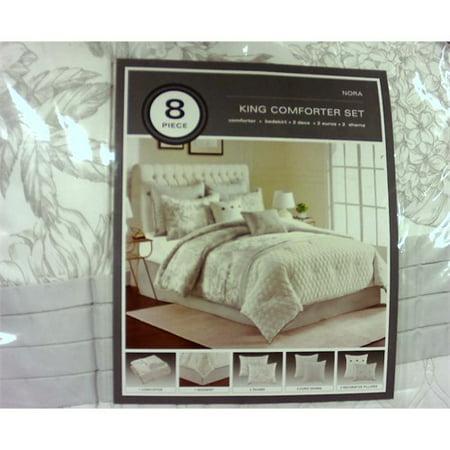 3667ca7742 8pc King Nora Linework Floral Comforter Set Gray