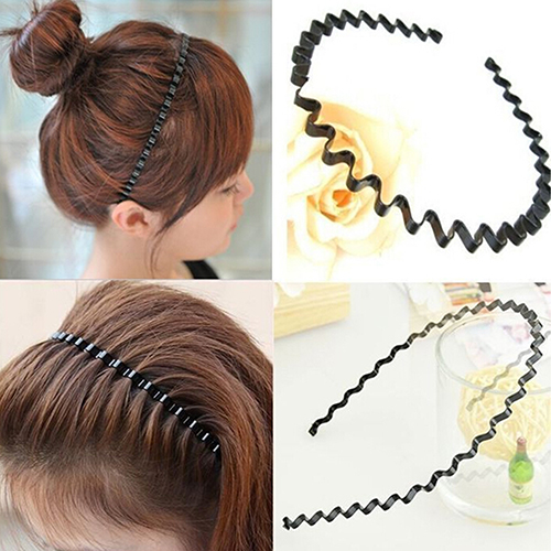 Girl12Queen Men's Women's Black Wavy Hair Head Hoop Band Fashion Sport Headband Hairband