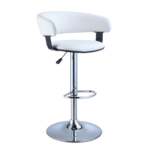 """Powell Furniture Bar and Game Room 34.63""""-41"""" Adjustable Bar Stool in White and Chrome"""