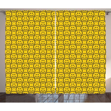 Emoji Curtains 2 Panels Set, Flat Simple Smiley Faces Expressing Happiness in Diagonal Order Joyful Childhood, Window Drapes for Living Room Bedroom, 108W X 63L Inches, Yellow Black, by Ambesonne