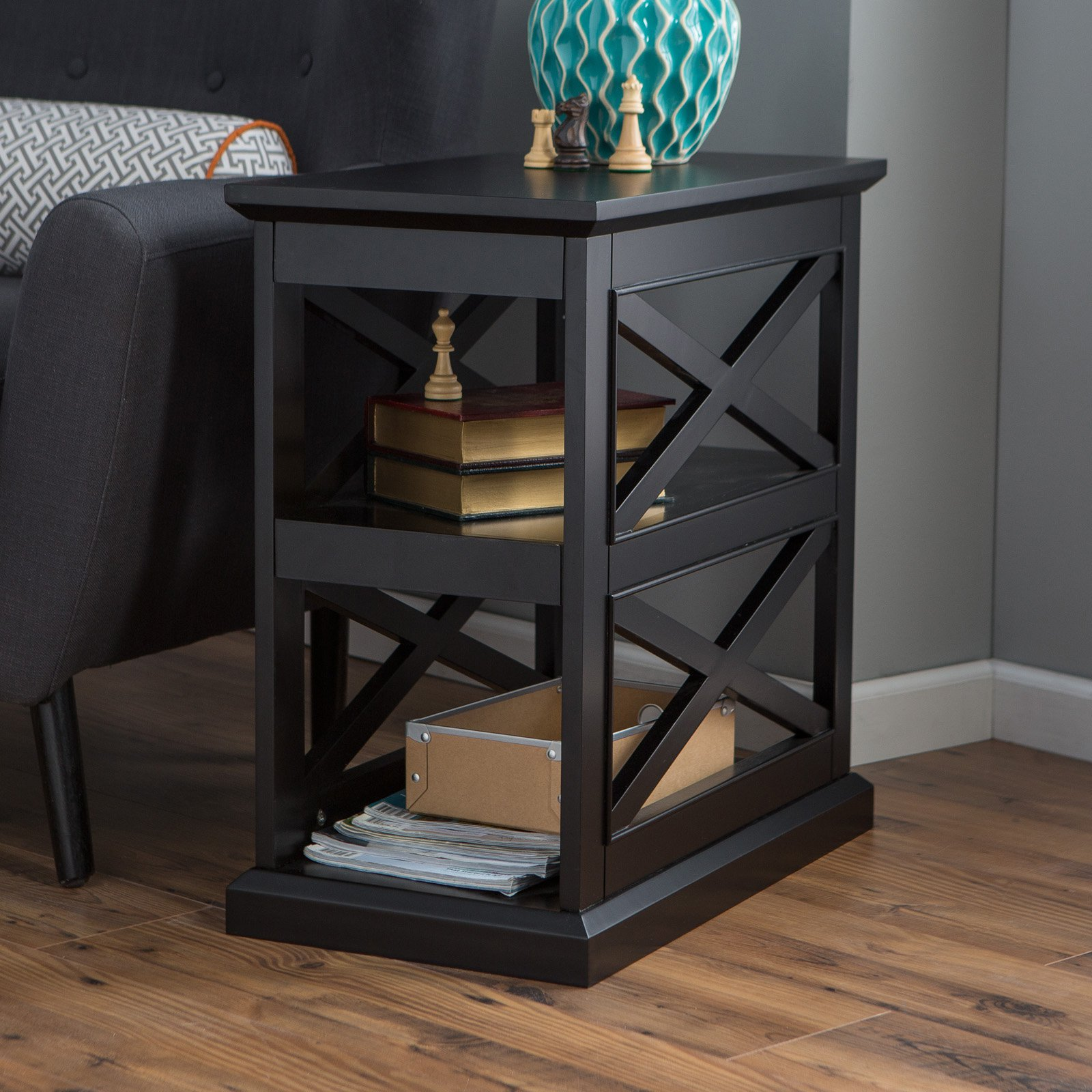 Belham Living Hampton Chair Side Table Black Walmart Com