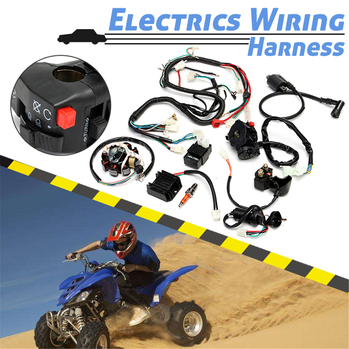 complete atv electrical wiring harness  chinese dirt