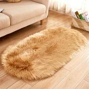 Oval Fluffy Plush Area Rug Non Skid Soft Shaggy Floor Carpet Mat Living Room Bedroom Kids Room Home Decor,47x 20 inch