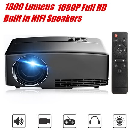 1800 Lumens LCD Mini Projector Multimedia Home Theater Cinema Video Projector Built in HIFI Spea kers 1080P Full HD USB VGA AV for TV Laptop Game iPhone Android